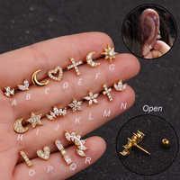1Pc Zirkon Stein Ohr Piercing Tragus Ring 1,2*6mm 16G Ohrringe Ohr Piercing Cartiliage Ohr Piercing schmuck