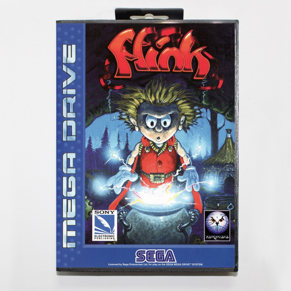 16 bit Sega MD game Cartridge with Retail box – Misadventure of Flink game card for Megadrive Genesis system