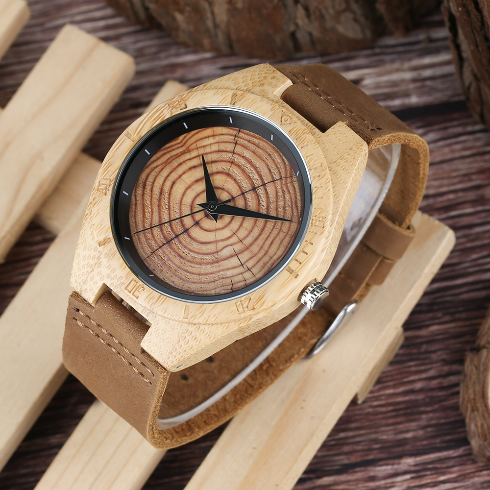 Casual Log Wooden Mens Wrist Watch Simple Nature Design Gear Pattern Dial Bangle Clock Fathers Day Gift for Dad Quartz Watches