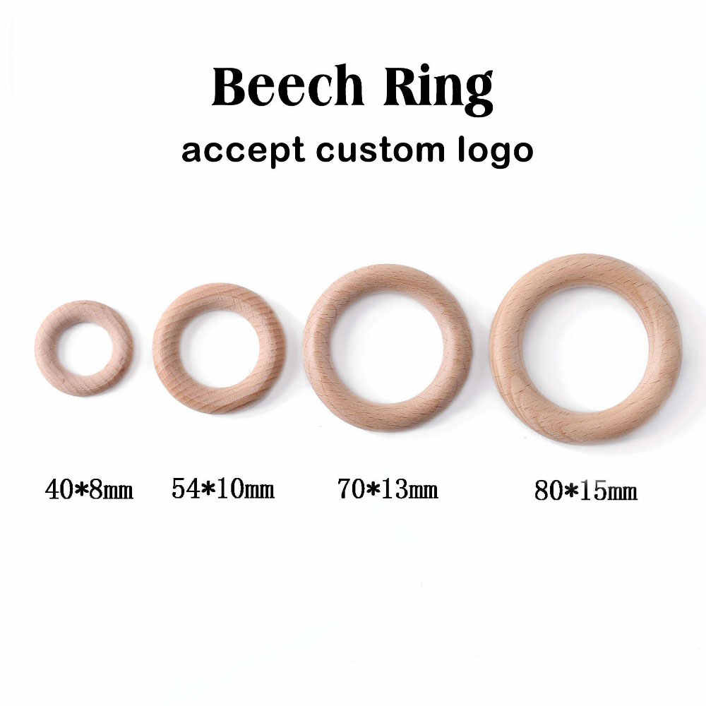 BPA Free 5Pcs 40/54/70/80 Mm Beech Kayu Cincin Bayi Teether Teething Ring Bulat cincin DIY Dot Gelang Rantai Accessorie Mainan