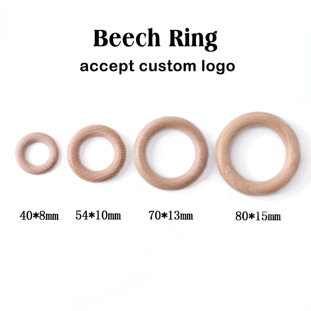 Bpa Free 5Pcs 40/54/70/80mm Beech Wooden Ring Baby Teether Teething Ring Round Ring DIY Pacifier Chain Bracelet Accessorie Toys
