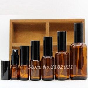 Image 5 - 2/10 Stuks 5/10/15/20/30/50/100 Ml Lege Helder/Amber Glas Essentiële Olie Parfumflesje Met Spuit/Lotion Pomp Glazen Spuitfles