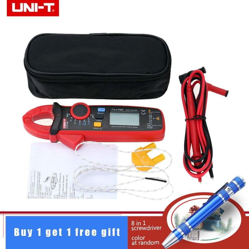 UNI T UT210D Mini Digital Clamp Multimeter 200A Auto Range AC DC Voltmeter Ammeter Resistance Capacitance