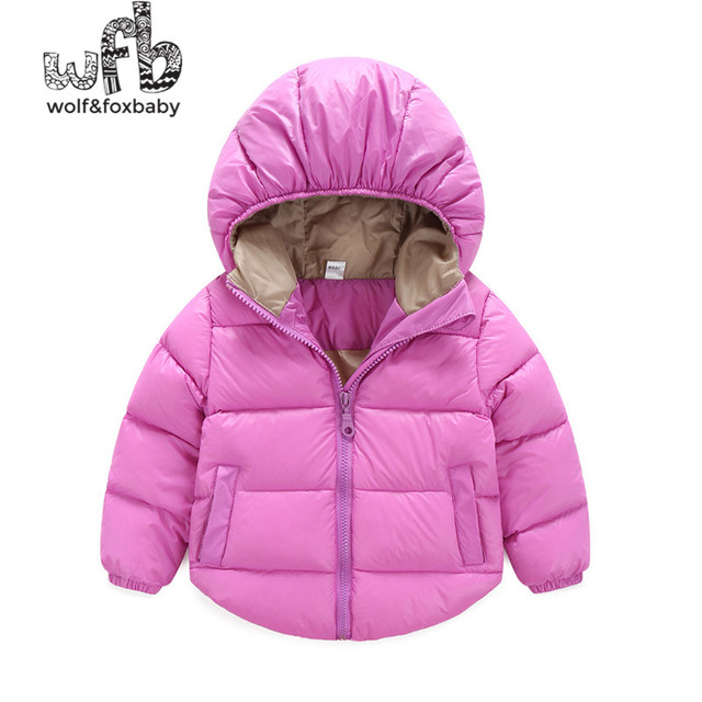 Retail 2-6 years children parkas full-sleeves solid color Candy colors hooded Keep warm coat kids spring autumn fall winter