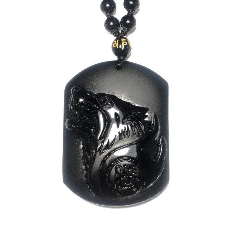 Sculpture tête de loup obsidienne noire (avec certificat) amulette pendentif bénédiction pendentif chanceux collier hommes bijoux