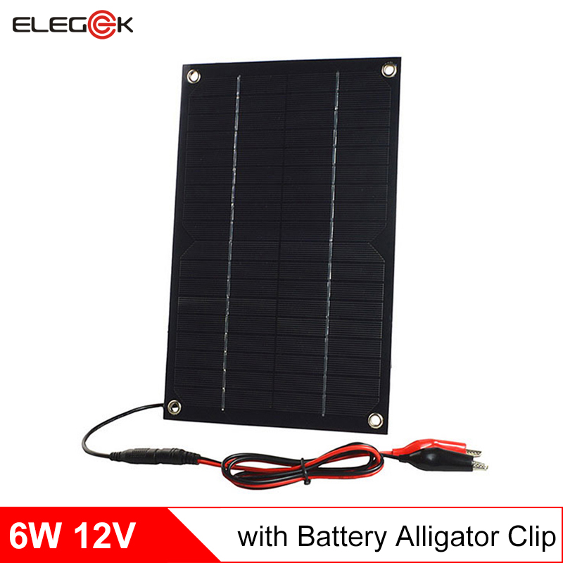 ELEGEEK Solar Panel 12V 6W Semi Flexible Solar Panel Charger for 12V Battery with Battery Clip