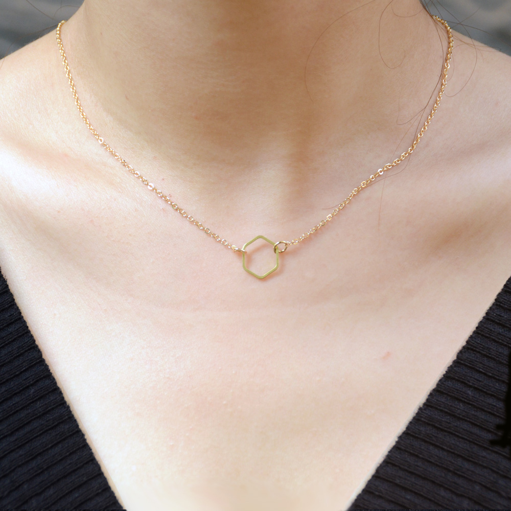 1pc Gold Silver Minimalist Chain Necklace Tiny Geometric Hexagon Necklace Drop Shipping