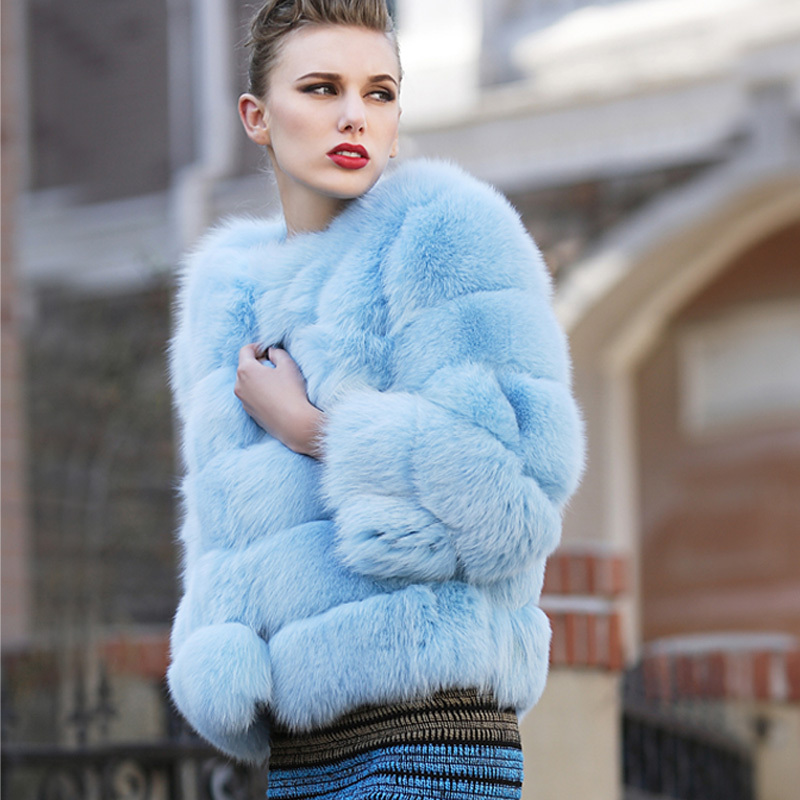 2014 women's blue finland fox full leather fox fur coat
