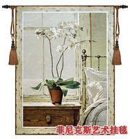 Belgium Tapestries Bedside Orchids Big Size Jacquard Tapestry Fabric Picture Tapestry Wall Hangings Mural Decorative Picture