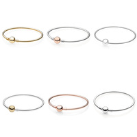 6 Color 925 Sterling Silver Bracelets Charms Round Bead Buckle Bangles Bracelets for Women fit Diy Beads Charm