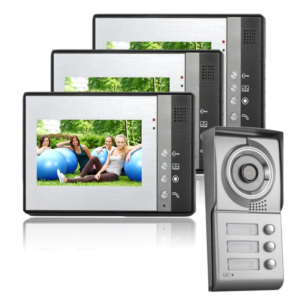 7 Inch Color LCD Video Door Phone Doorbell Intercom Entry System Kit 3-Monitor 1-Camera Night Vision For 3 Apartment 3 5 inch tft color display monitor 1 camera wireless video doorbell video door phone intercom system
