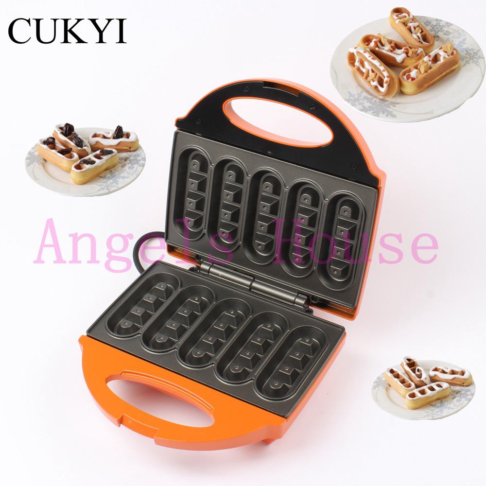 CUKYI 5-stick mini waffle maker  for breakfast,non-stick electric cooking machine  ,Orange breakfast for champions
