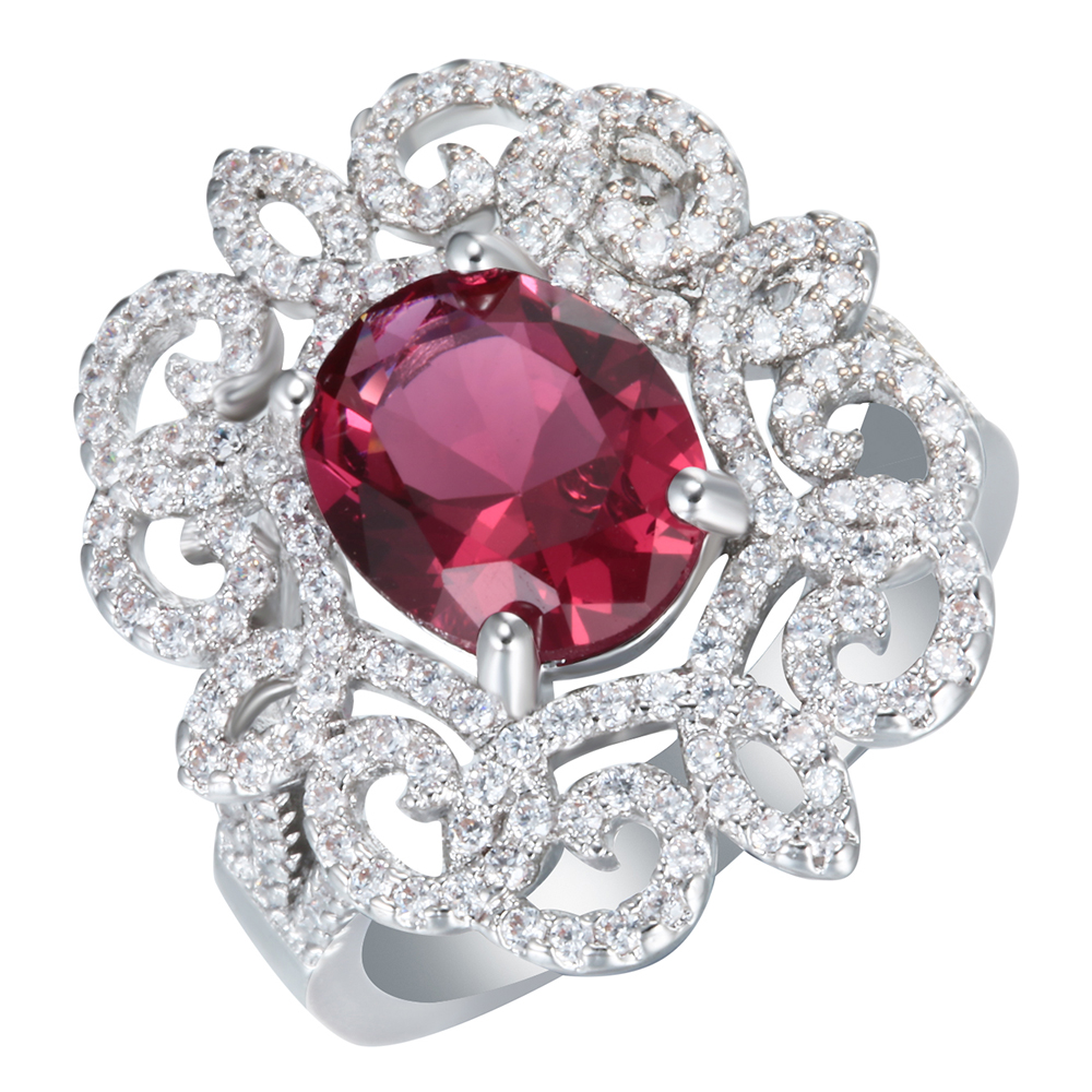 Hot Sale Love Silver Plated Red Zircon Rings For