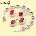Женщин Четырех Частей Красный Имитация Рубин Мода 925 Серебряные Ювелирные Изделия Устанавливает Веселый Ожерелье Кольцо Серьги Браслет Бесплатный Box