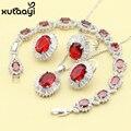 Mulheres Imitação Rubi Conjuntos de Jóias de Moda 925 Prata de Quatro Peças Vermelho Alegre Colar Anel Brinco Pulseira Caixa Livre