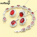 Women Four Piece Red Imitation Ruby Fashion 925 Silver Jewelry Sets Cheerful Necklace Ring Earring Bracelet Free Box