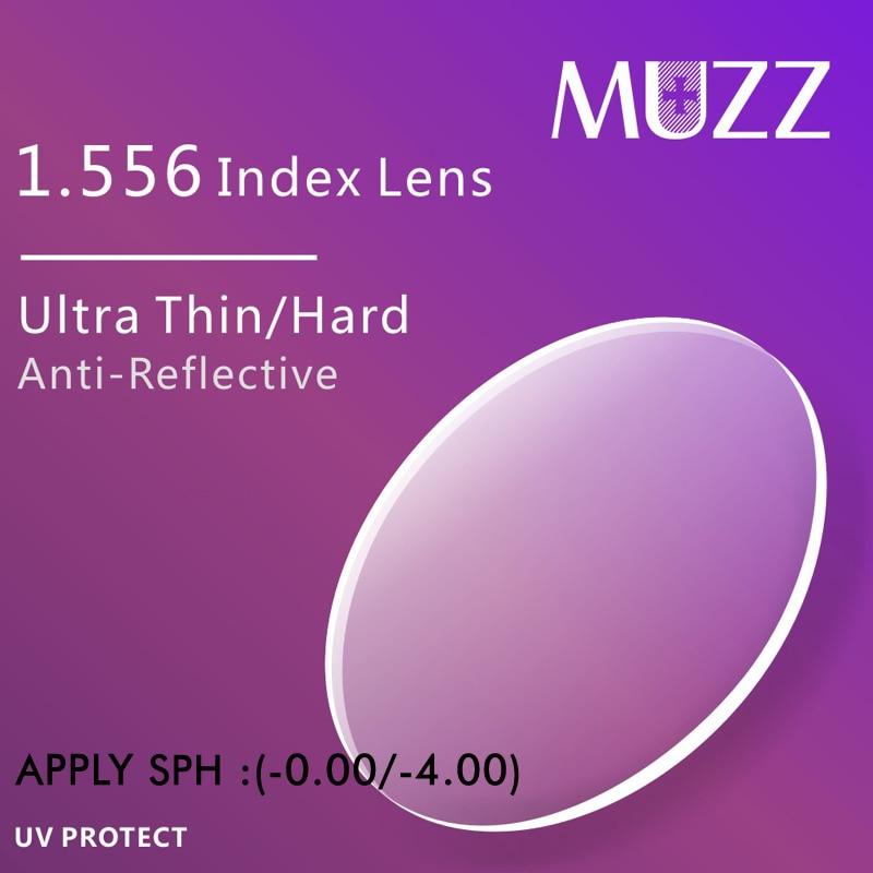 MUZZ Eye Glasses Lens 1.556 Index Thinner, lighter High Quality Myopia Super Tough Resin Optical Prescription Eye glasses 2PCS