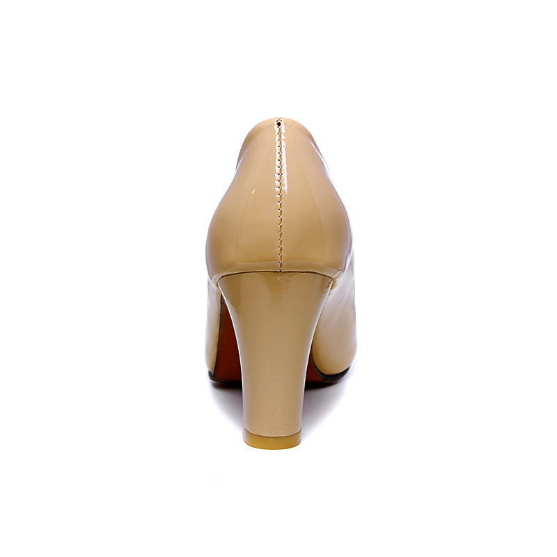 Image 2 - Plus size 46 2019 Fashion Classic Women Pumps Thick High Heels Shoes Solid PU Leather Nude Red black Office Wedding Shoes Womanwedding shoeswedding shoes womenwomen pumps -
