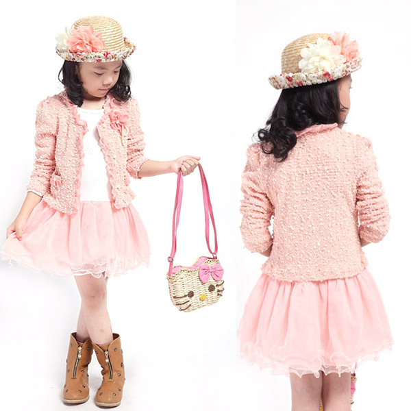 Kids 3-10Y Costume 2Pcs Clothes Set Jacket+Dress Outfit Set Baby Girls Clothing Sets Tutu Dress Cotton Lace fashion kids baby girl dress clothes grey sweater top with dresses costume cotton children clothing girls set 2 pcs 2 7 years