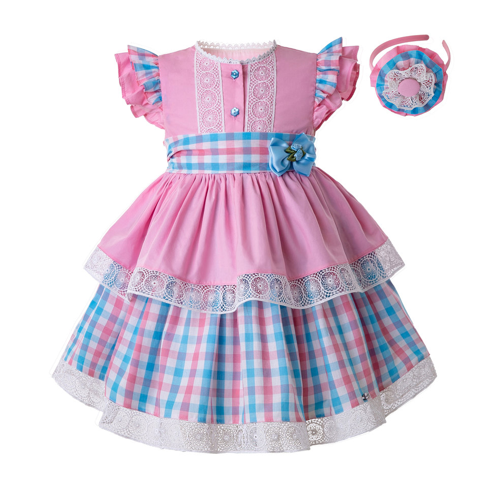 Pettigirl Summer Baby Girls Grid  Dresses Heart shaped  Hollow  Sleeveless Cotton Kids Clothes With Flowers & Bow G DMGD112 B487-in Dresses from Mother & Kids    1