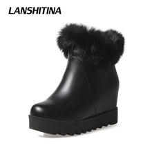 LANSHITINA Winter Short Boot Women Ankle Boots Snow White Feather Boots Ankle Boots Fur Warm Footwear High Increase Shoes G003