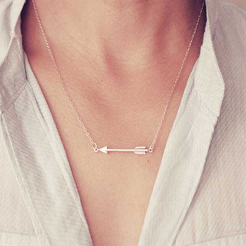 KISSWIFE New Fashion Arrow Necklace Pendant Ladies Pendants Sweater Chain Jewelry