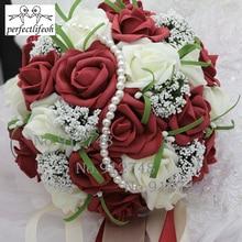 Perfectlifeoh اللؤلؤ الاصطناعي زهرة روز باقة جميلة الأرجواني الزفاف باقة جميع اليدوية الزفاف زهرة الزفاف باقة