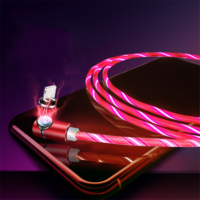 LED Flowing Light USB Charger Cable Magnetic 3 in 1 USB Charging Cable Light UP For iPhone X