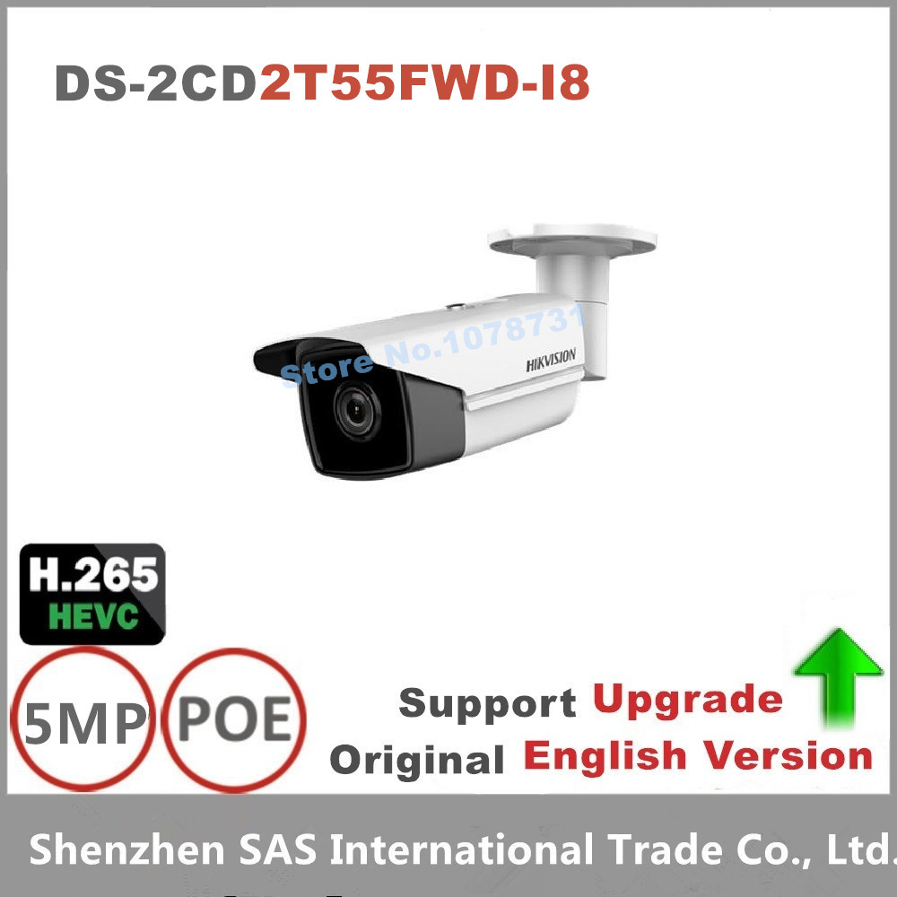 Free shipping Hikvision English Version DS-2CD2T55FWD-I8 5MP Ultra-Low Light Network Bullet Camera Surveillance Camea 80m IR hikvision ds 2df8223i ael english version 2mp ultra low light smart ptz camera ultra low illumination dark fighter