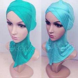 Image 4 - 2017 musulman mercerisé coton quatre couches écharpe croisée couverture complète intérieur coton Hijab casquette islamique coiffe de tête chapeau bandeau couleurs