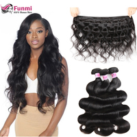 Funmi Unprocessed Virgin Hair Bundles Body Wave Malaysian Virgin Hair Bundles 1/3/4PCS Lot Double Weft Human Hair Extensions
