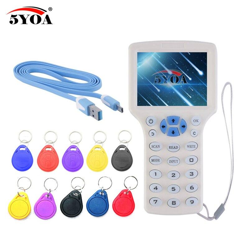 Inglés 10 frecuencia RFID Copier ID IC Lector Escritor copia M1 13.56 MHZ cifrada Duplicadora Programador USB NFC Etiqueta Dominante UID tarjeta
