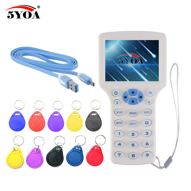 Inglese 10 frequenza RFID Copier ID IC Reader Writer copy M1 13.56 MHZ cifrato Duplicator Programmatore USB NFC Tag Chiave UID carta