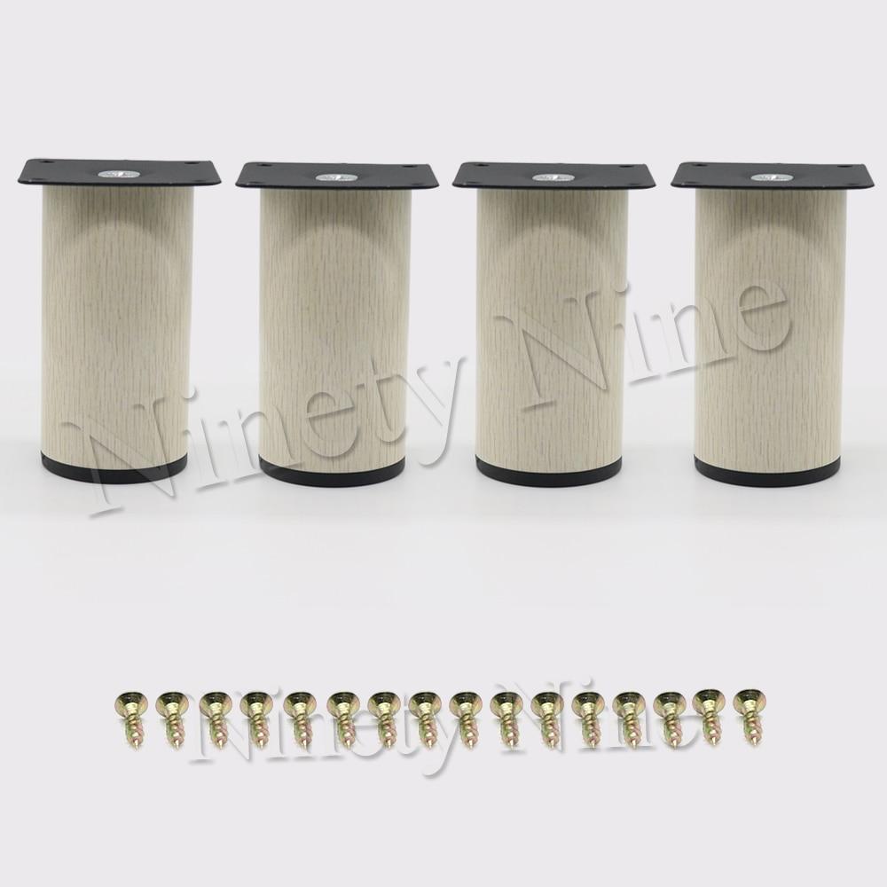 4Pcs 64*100mm Wood Grain Metal Cabinet Furniture Legs Stainless Steel Cabinet Feet Kitchen Feet Round