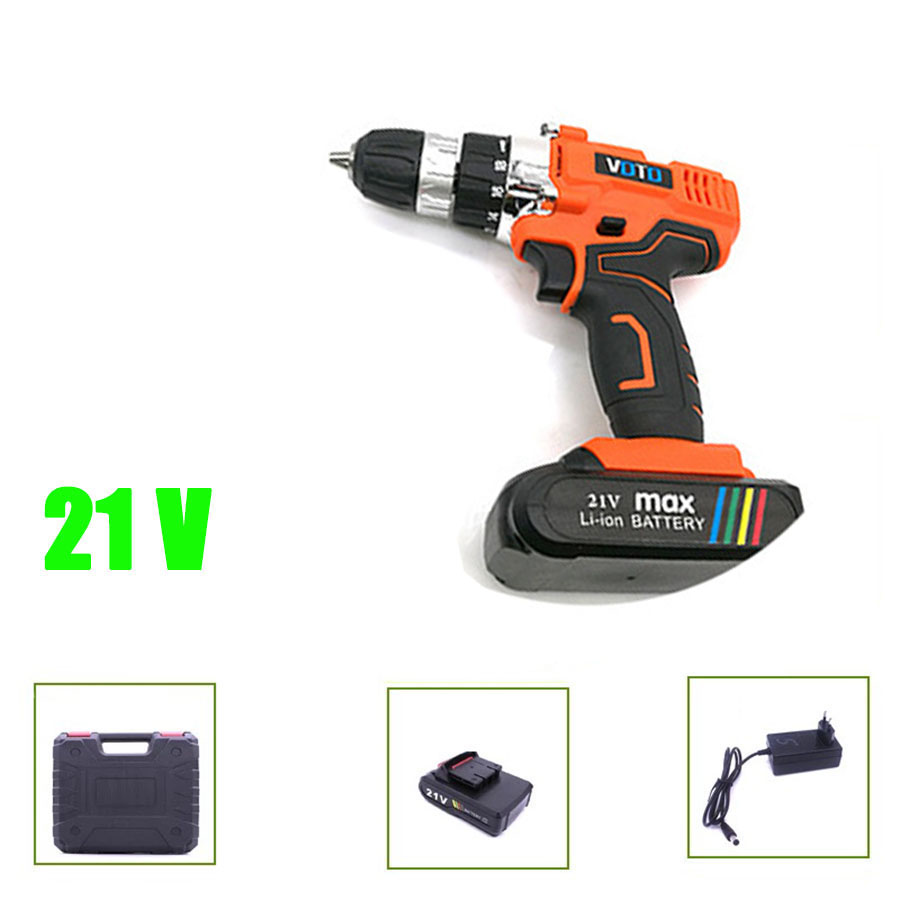 VOTO V6 Battery Rechargeable Cordless Drill Electric Screwdriver Set Lithium Power Tools Screw Gun Driver 21V Orange With Case цены онлайн