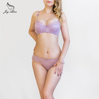 2017 Women Lace Lingerie Bra Set Push Up Bras And Underwear Sets Plus size A B C D Cup Embroidery Bra And Panty Set
