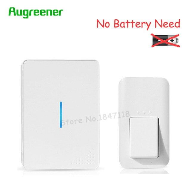 AuGreener No Battery Need Waterproof Door Bell 38 Melody Home Remote LED Wireless Doorbell Self-Powered Doorbells 1/2 Receivers