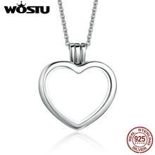 ddf9b4041c7f WOSTU nueva llegada 100% de corazón de plata de ley 925 flotante colgante  collares ajustan Petite encantos para las mujeres de l.