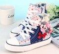 2017 muchachas del resorte de las zapatillas de deporte zapatos de lona flores muchachas del bowtie de zapatos de color rosa zapatos de bebé zapatos de la escuela para niños niñas calzado plano