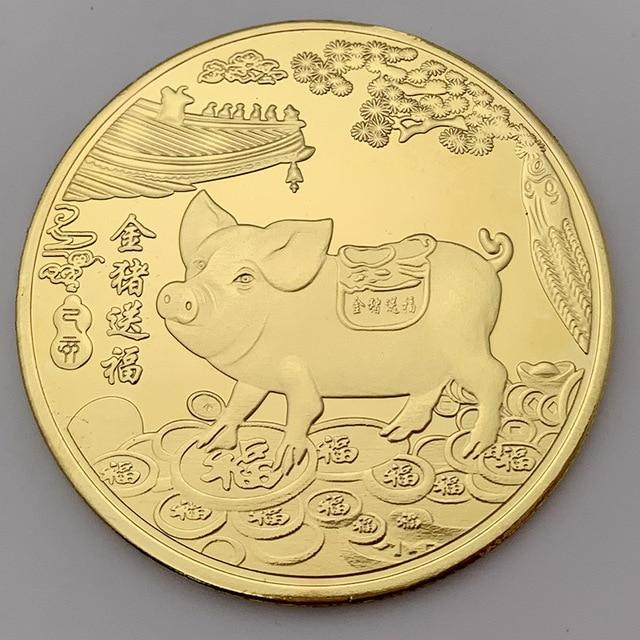 2019 Fu cerdo conmemorativo moneda año de cerdo entrega monedas de dinero colección Año nuevo regalo chapado en oro buena fortuna hogar decoración del coche