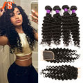 4 Bundles Lot Deep Wave With Closure 7a Peruvian Deep Wave with Closure Peruvian Hair With Closure Loose Deep Wave With Closure