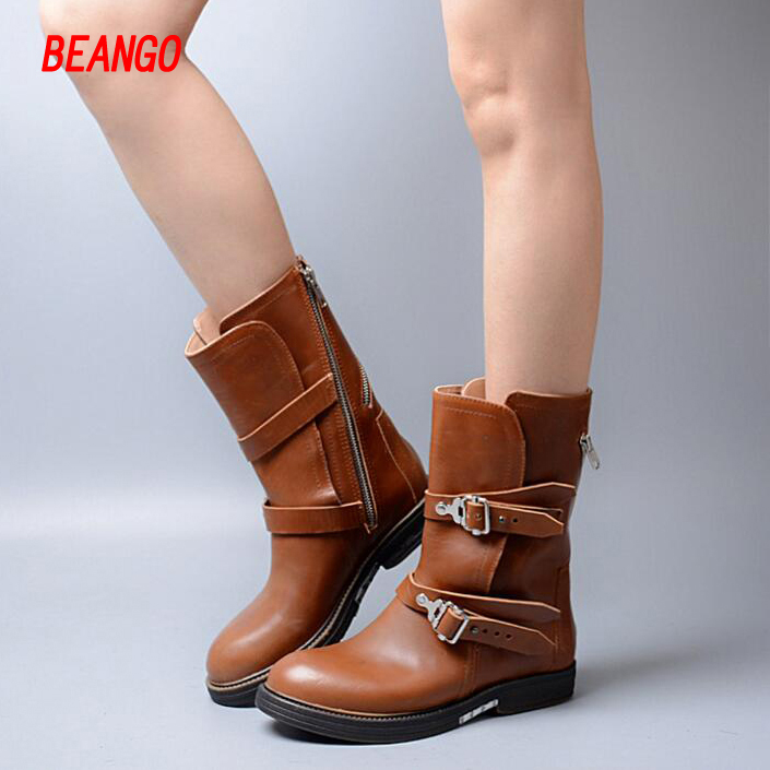 BEANGO High quality genuine leather buckle thick heel mid-calf boots 2017 fashion women boots martin boots Autumn&Winter boots beango new handmade martin western boots mid calf genuine leather women pointed toe spike heel vintage buckle strap shoes