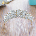 Fashion Women Crown rhinestone princess Tiara girl crystal hairwear bride wedding accessories headpiece flower fascinator sygz01