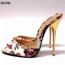 HSM US16 17 18 19 flip-flop Zapatillas zapatos de mujer de Verano Stiletto 14 cm Tacones Delgados Sandalias mujer zapatos Clásicos nuevo llega bombas