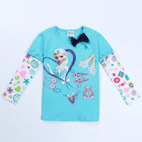 brand kids clothing girls anna elsa t shirt clothes children wear spring/autumn casual long sleeve t shirt for girls enfant