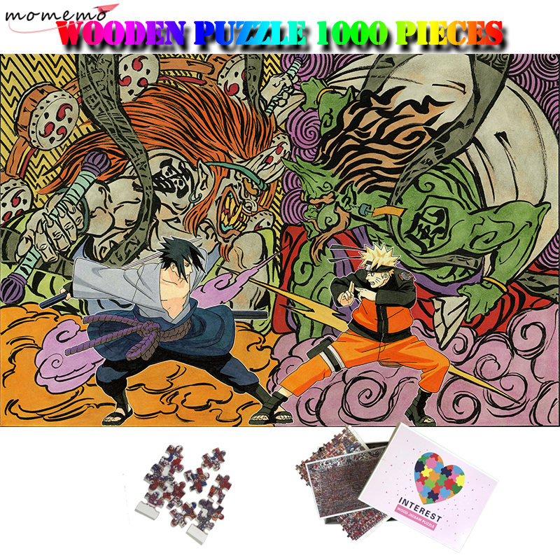 Momemo Sasuke And Naruto 1000 Pieces Wood Puzzle For Cartoon Puzzle Enfant 1000 Pieces Wooden Puzzle Toys For Adults Kids Gifts