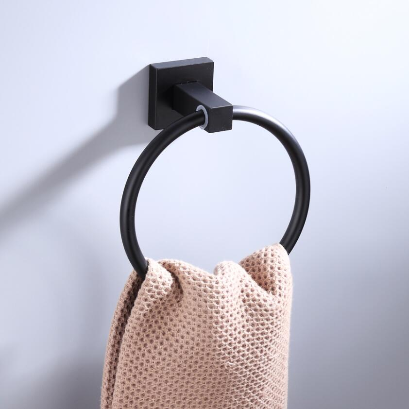 55CM Matte Black Double Towel Bars Bathroom Towel Hanger Space Aluminum Bathroom Accessories Towel Rack Towel Ring  Toilet Brush 4