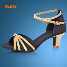 KULLA Ballroom Tango Latin Dance Shoes For Women Black Adult High-heeled Salsa Dancing Shoes Ladies Soft Performing Dance Shoes