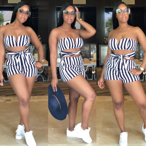 59c82e1ace US Women Holiday Mini Playsuit Jumpsuit Rompers Summer Beach Casual Shorts  striped bow sleeveless