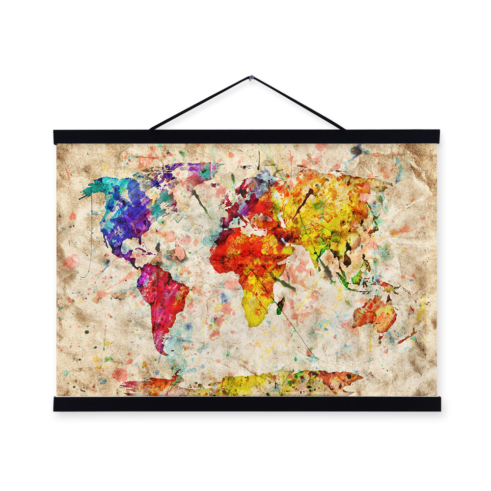 Shabby Cottage Chic Nest Prints Home Decor Wall Art ~ Vintage retro colorful creative world map shabby chic wood